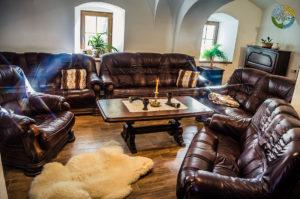 Pohled do obývacího pokoje Penzionu Element